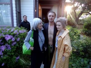 Mayor Karen Guzak (L), Michael Pitt and unidentified cast member